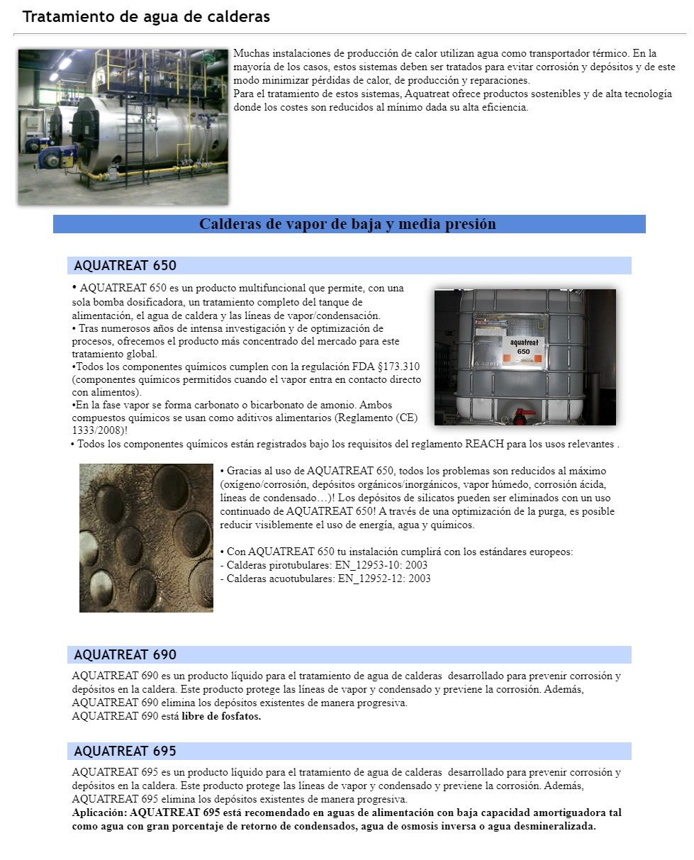 químicos agua de calderas